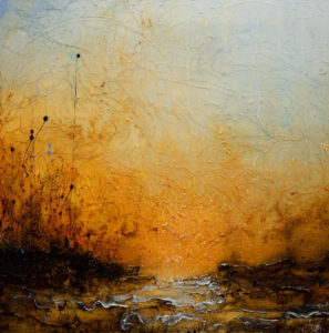 """SOLD """"Healing Time,"""" by Laura Harris 36 x 36 – acrylic $3685 (thick canvas wrap without frame)"""