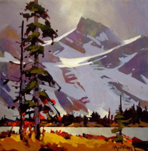 "SOLD ""The Heart of Kananaskis,"" by Michael O'Toole 12 x 12 – acrylic $650 (thick canvas wrap without frame)"