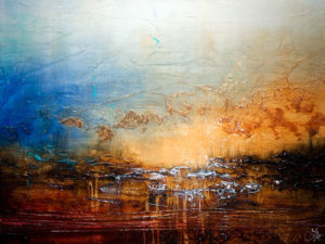 """SOLD """"Here at the Heart of It,"""" by Laura Harris 36 x 48 – acrylic $5440 (thick canvas wrap without frame)"""
