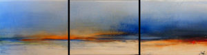 "SOLD ""Here From There,"" by Laura Harris  Triptych – 20 x 72 (overall size) – acrylic/mixed media $3300 Unframed"