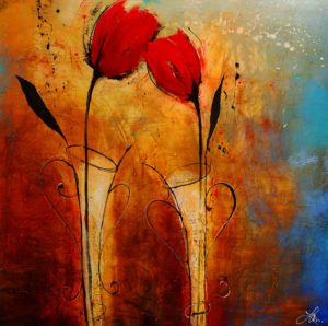 """SOLD """"Here to Stay,"""" by Laura Harris 48 x 48 – acrylic/mixed media $5460 (thick canvas wrap without frame)"""