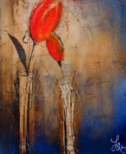 """SOLD """"Here with You,"""" by Laura Harris 20 x 24 – acrylic/mixed media $1260 (thick canvas wrap without frame)"""