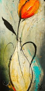 """SOLD """"He Waited,"""" by Laura Harris 12 x 24 – acrylic $1090 (thick canvas wrap without frame)"""