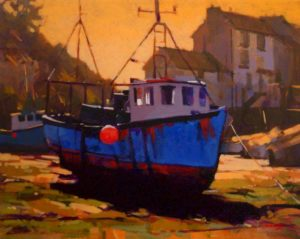 """SOLD """"High and Dry – Cornwall, England,"""" by Mike Svob 16 x 20 – acrylic $1710 Framed"""