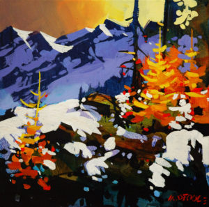 "SOLD ""High Ground on the Tantalus,"" by Michael O'Toole 12 x 12 – acrylic $815 Framed"