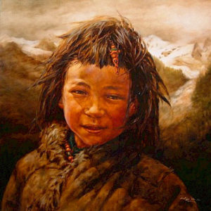 "SOLD ""High Mountain Boy,"" by Donna Zhang 30 x 30 – oil"