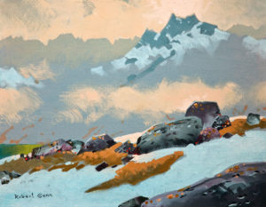 "SOLD ""High Passage Above Cobalt Lake, Bugaboos 2012,"" by Robert Genn 14 x 18 – acrylic $4600 Unframed"