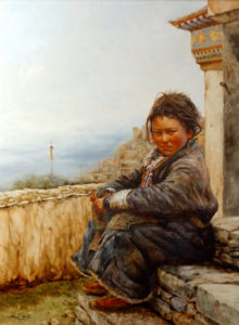 "SOLD ""The High View,"" by Donna Zhang 30 x 40 – oil $7260 Custom framed"