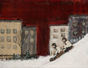 "SOLD ""L'hiver,"" by Louise Lauzon 7 x 9 – acrylic $290 Unframed $460 Custom framed"