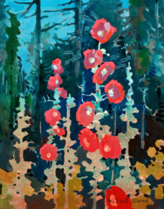 "SOLD ""Hollyhock at Hollyhock II, Cortes Island,"" by Robert Genn 11 x 14 – acrylic $3000 Unframed"