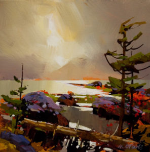 "SOLD ""Hotsprings Island, Queen Charlotte Islands,"" by Michael O'Toole 12 x 12 – acrylic $895 Framed"