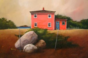 "SOLD ""House at Open Hall,"" by Mark Fletcher 24 x 36 – acrylic $2840 Framed"