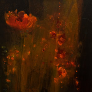 "SOLD ""Hummingbirds in Hiding,"" by Susan Flaig 24 x 24 – acrylic/graphite $1220 Unframed"