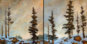 "SOLD ""I Could Go Left or Right …Yeah, Me Too…,"" by David Langevin  diptych – 36 x 72 – acrylic $6600 (Thick canvas wrap  without frame)"