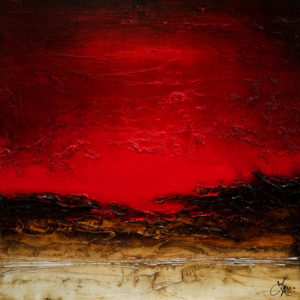 "SOLD ""Ignite,"" by Laura Harris 36 x 36 – acrylic $4075 (thick canvas wrap without frame)"