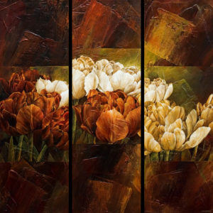 "SOLD ""Importance of Flowers,"" by Linda Thompson tripytch – 36 x 36 overall size – acrylic/mixed media $3120 (thick canvas wrap without frame)"