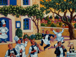 "SOLD ""Impromptu Staff Party in the Courtyard,"" by Michael Stockdale 18 x 24 – acrylic $1000 Unframed"