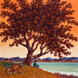 "SOLD ""Indian Summer,"" by Michael Stockdale 16 x 16 - acrylic $730 (thick canvas wrap without frame)"