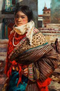 "SOLD ""In Front of the Monastery,"" by Donna Zhang 24 x 36 – oil $6200 Custom framed"