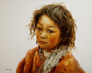 "SOLD ""Innocent Glance,"" by Donna Zhang 24 x 30 – oil $5200 Custom framed $5140 with standard frame"