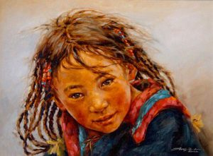 "SOLD ""Inquisitive,"" by Donna Zhang 18 x 24 – oil"