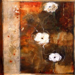 "SOLD ""In the Secret Garden,"" by Susan Flaig 24 x 24 – acrylic/mixed media $910 Unframed"
