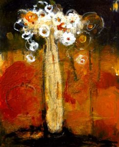 "SOLD ""In the Same Spirit,"" by Susan Flaig 20 x 24 – acrylic/mixed media $970 Unframed"