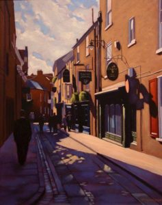 "SOLD ""In the Shadows of York,"" by Ray Ward 16 x 20 – oil $1425 Framed"