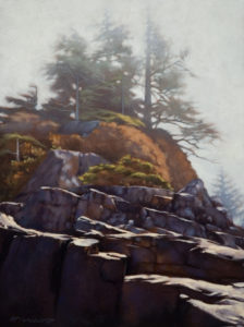 "SOLD ""Into the Fog,"" by Ray Ward 9 x 12 – oil $650 Unframed"