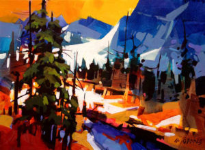 """SOLD """"Into the Tonquin Valley,"""" by Michael O'Toole 12 x 16 – acrylic $1065 Framed"""