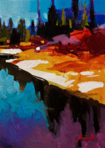 """SOLD """"Intriguing Fall Reflections II,"""" by Mike Svob 5 x 7 – acrylic $420 Unframed $560 Custom framed"""