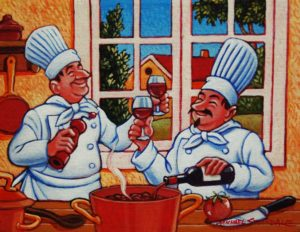 "SOLD ""In Vinum Modus Operandi,"" by Michael Stockdale (The Way to Operate with Wine) 8 x 10 – acrylic $510 Framed"
