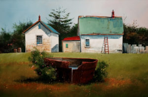 "SOLD ""The Iron Watertank,"" by Mark Fletcher 20 x 30 – acrylic $2090 Unframed"