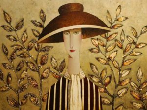 "SOLD ""Isabelle's Autumn Hat,"" by Danny McBride 30 x 40 – acrylic $3750 (thick canvas wrap without frame)"