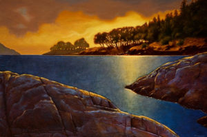 "SOLD ""Island Glow,"" by Ray Ward 24 x 36 – oil $2595 Unframed"