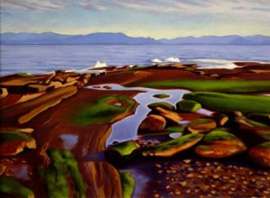 "SOLD ""Island Tidal Pool,"" by Ray Ward 12 x 16 – oil $995 Framed"