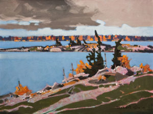 "SOLD ""Islets, Parry Sound, Ontario,"" by Robert Genn 12 x 16 – acrylic $3900 Unframed"