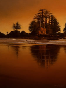 "SOLD ""Islet at Twilight,"" by Ray Ward 12 x 16 – oil $860 Unframed"