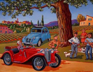 "SOLD ""Is this the Road to Carcassone?"" by Michael Stockdale 14 x 18 – acrylic $770 Framed"