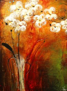 "SOLD ""Jade and Fire,"" by Laura Harris 36 x 48 – acrylic $4880 (thick canvas wrap without frame)"