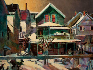 "SOLD ""January's Backyard,"" by Michael O'Toole 12 x 16 - acrylic $880 Unframed $1100 in show frame"