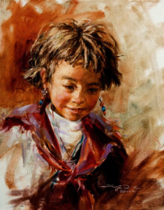 "SOLD ""Joyful,"" by Donna Zhang 11 x 14 – oil $1260 Unframed $1480 Custom framed"