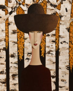 "SOLD ""Julia in Autumn,"" by Danny McBride 24 x 30 – acrylic $3000 (thick canvas wrap without frame)"