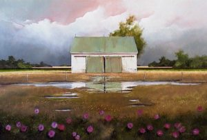 "SOLD ""June Rains Passing,"" by Mark Fletcher 24 x 36 – acrylic $2600 Framed"