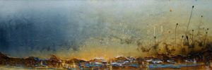"SOLD ""Just Beyond,"" by Laura Harris 20 x 60 – acrylic $3430 (thick canvas wrap without frame)"