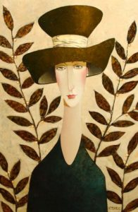 "SOLD ""Justine and the Brown Hat,"" by Danny McBride 24 x 36 – acrylic $3100 Unframed"