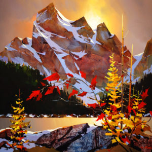 "SOLD ""Kananaskis Playground,"" by Michael O'Toole 36 x 36 – acrylic $3950 Framed"