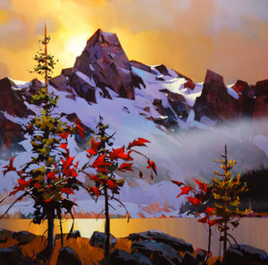 "SOLD ""Kananaskis Range,"" by Michael O'Toole 36 x 36 – acrylic $3950 Framed"