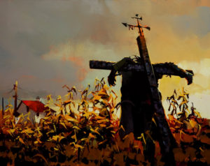 "SOLD ""Keeper of the Corn,"" by Michael O'Toole 24 x 30 – acrylic $2370 Unframed"