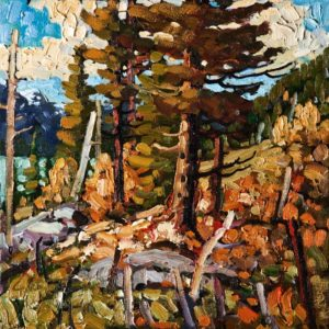 "SOLD ""Kootenays September,"" by Rod Charlesworth 12 x 12 – oil $1120 Unframed $1240 Custom framed"